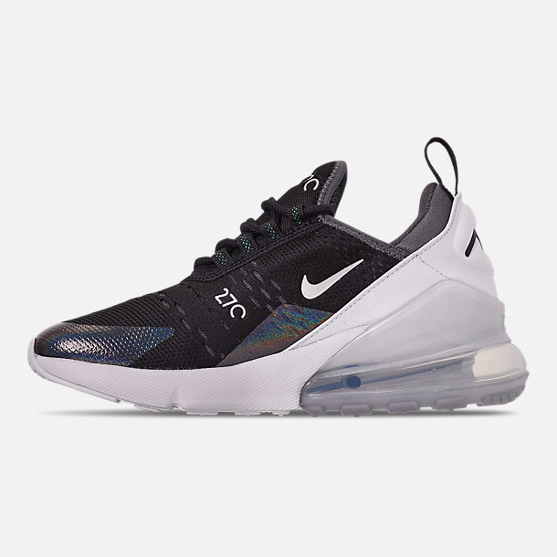 Left view of Boys' Big Kids' Nike Air Max 270 Y2K Casual Shoes in Black/Metallic Silver/Dark Grey