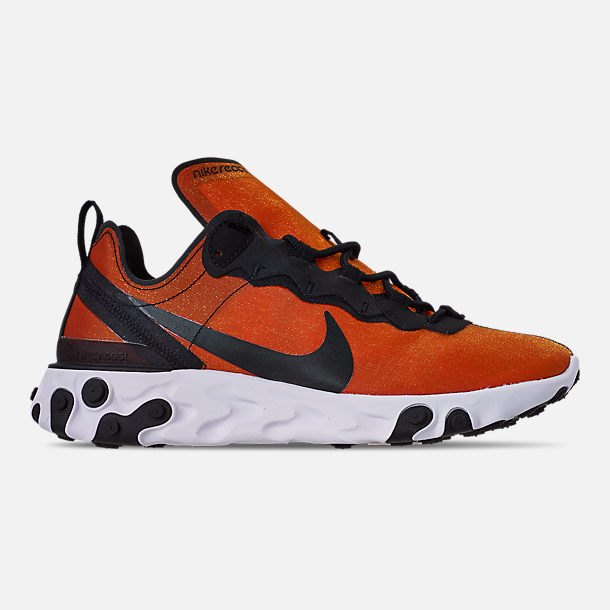 Right view of Men's Nike React Element 55 Premium Casual Shoes in Black/Black/Tour Yellow/White
