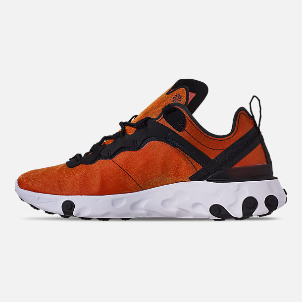 Left view of Men's Nike React Element 55 Premium Casual Shoes in Black/Black/Tour Yellow/White