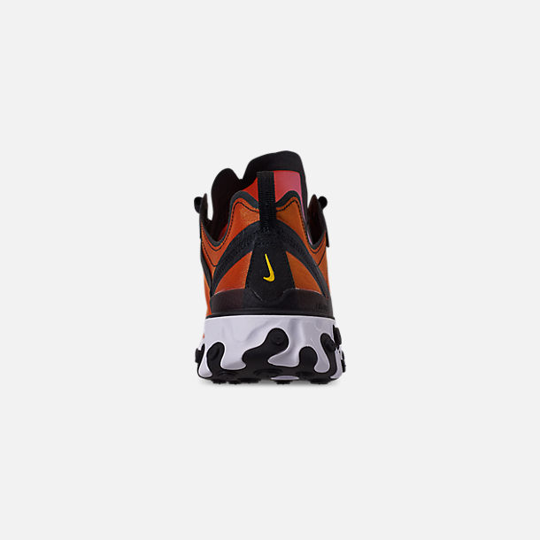 Back view of Men's Nike React Element 55 Premium Casual Shoes in Black/Black/Tour Yellow/White