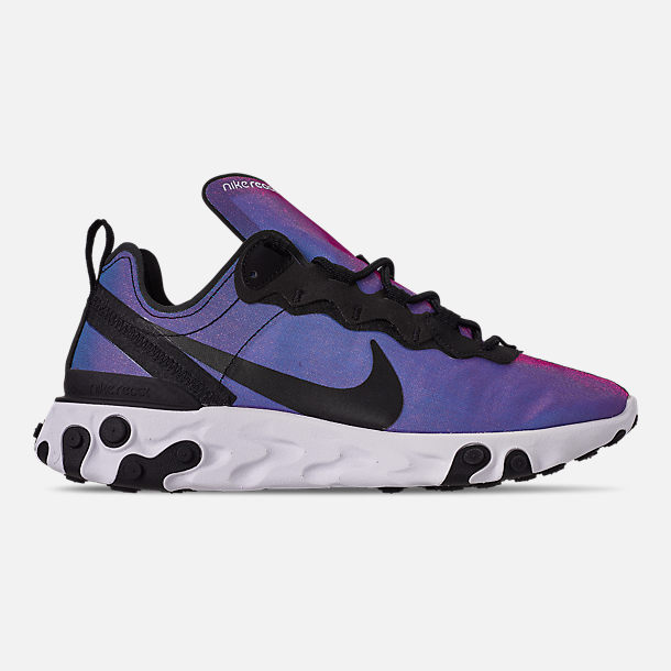 Right view of Men's Nike React Element 55 Premium Casual Shoes in Black/Black/Active Pink/White