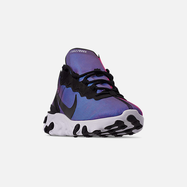 Three Quarter view of Men's Nike React Element 55 Premium Casual Shoes in Black/Black/Active Pink/White