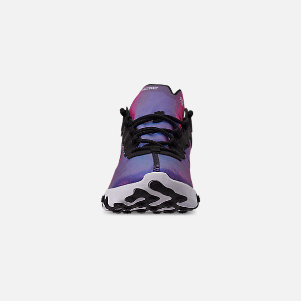 Front view of Men's Nike React Element 55 Premium Casual Shoes in Black/Black/Active Pink/White