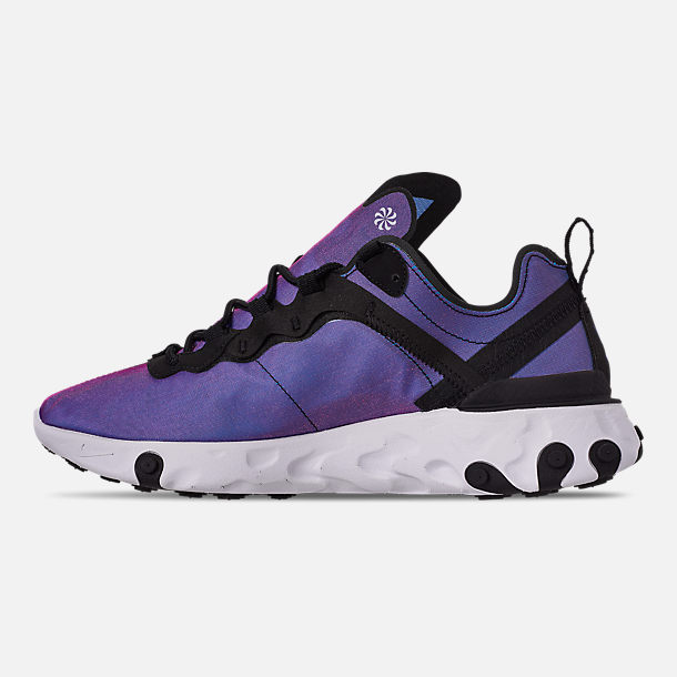 Left view of Men's Nike React Element 55 Premium Casual Shoes in Black/Black/Active Pink/White