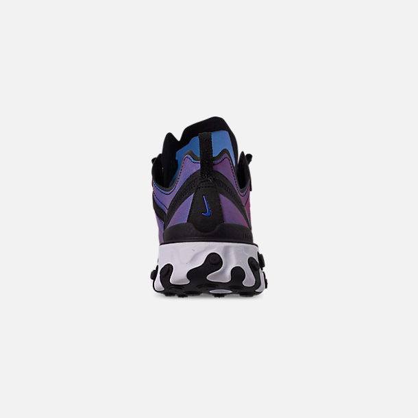 Back view of Men's Nike React Element 55 Premium Casual Shoes in Black/Black/Active Pink/White