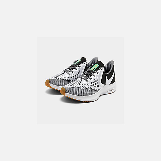 Three Quarter view of Men's Nike Air Zoom Winflo 6 SE Running Shoes in Black/White/Gum Light Brown/Pure Platinum