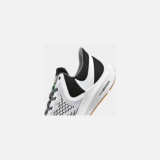 Front view of Men's Nike Air Zoom Winflo 6 SE Running Shoes in Black/White/Gum Light Brown/Pure Platinum