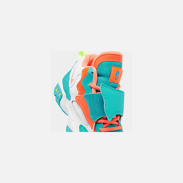 Front view of Boys' Big Kids' Nike Air Speed Turf Training Shoes in White/Bright Mango/Total Crimson