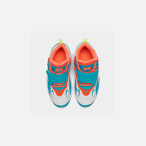 Back view of Boys' Big Kids' Nike Air Speed Turf Training Shoes in White/Bright Mango/Total Crimson
