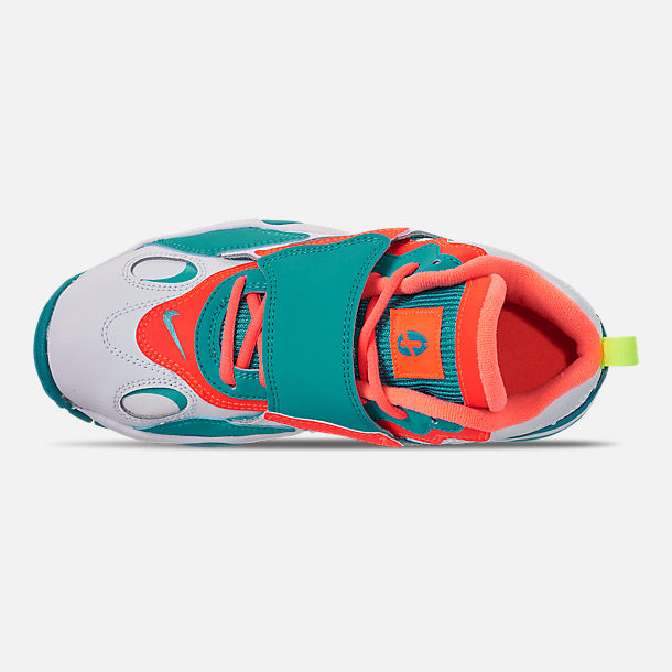 Top view of Boys' Big Kids' Nike Air Speed Turf Training Shoes in White/Bright Mango/Total Crimson