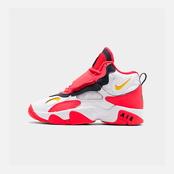 Right view of Boys' Big Kids' Nike Air Speed Turf Training Shoes in White/Laser Orange/Red Orbit/Armory