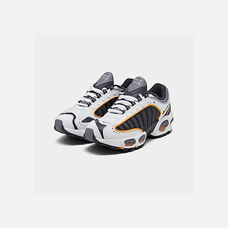 Three Quarter view of Boys' Big Kids' Nike Air Max Tailwind IV Casual Shoes in Metro Grey/Resin/White/Machine Grey