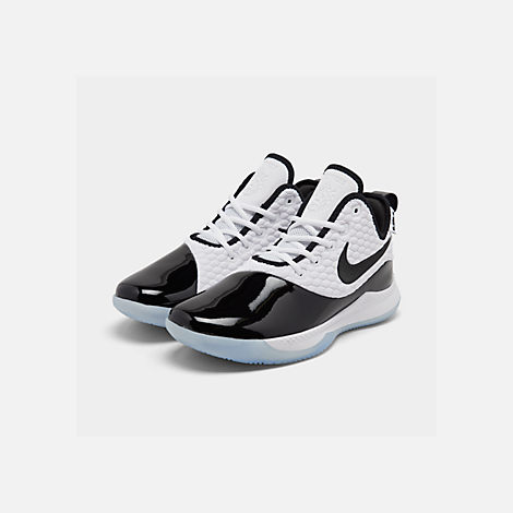 c3205c96fe3 Three Quarter view of Men s Nike LeBron Witness 3 PRM Basketball Shoes in  White Black