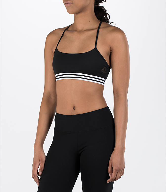 Front view of Women's adidas Crossback Sports Bra in Black Stripe