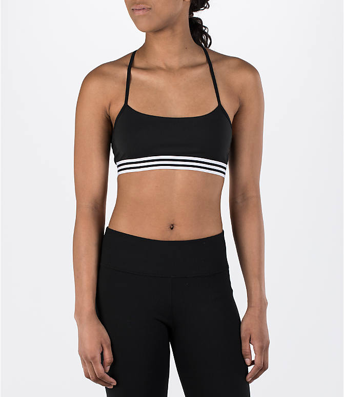 Front Three Quarter view of Women's adidas Crossback Sports Bra in Black Stripe
