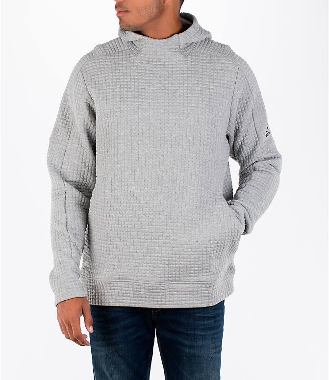 Front view of Men's adidas Squad ID Hoodie in Medium Grey Heather