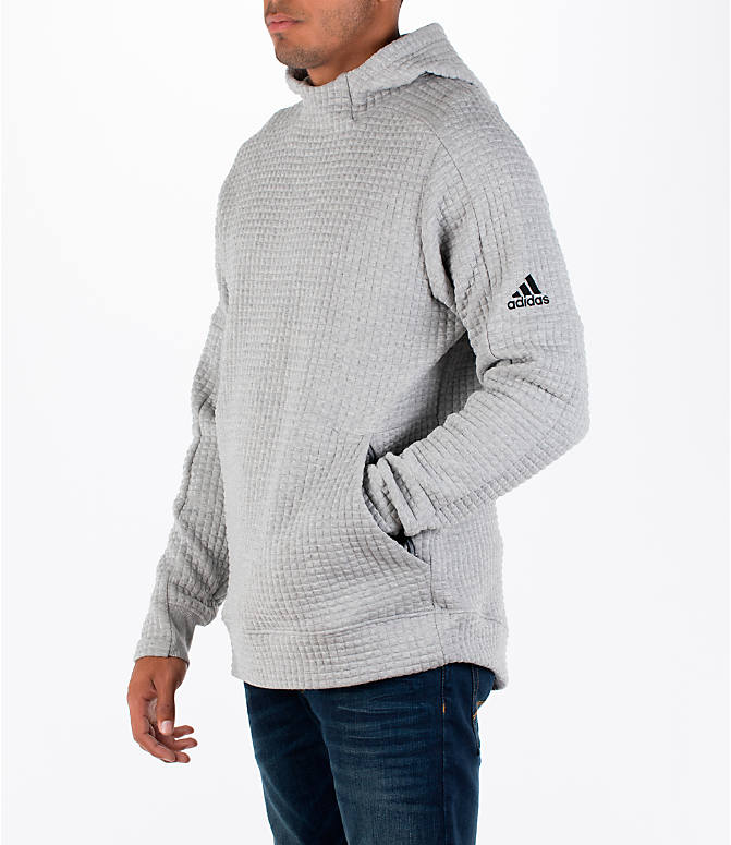 Front Three Quarter view of Men's adidas Squad ID Hoodie in Medium Grey Heather