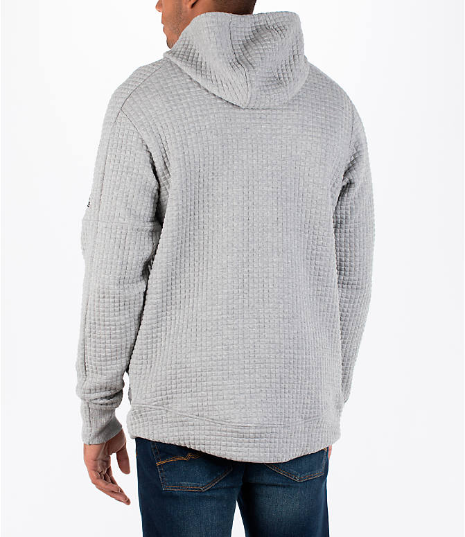 Back Left view of Men's adidas Squad ID Hoodie in Medium Grey Heather
