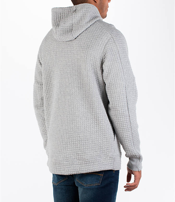 Back Right view of Men's adidas Squad ID Hoodie in Medium Grey Heather