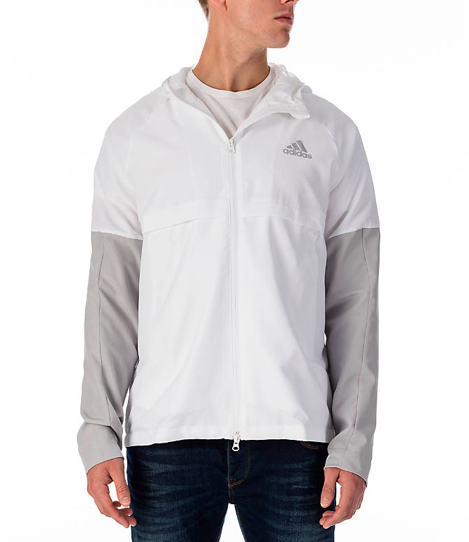Front view of Men's adidas Sport ID Wind Jacket in White/Grey