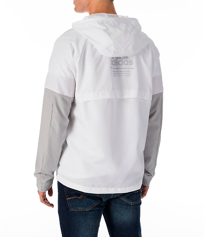 Back Left view of Men's adidas Sport ID Wind Jacket in White/Grey