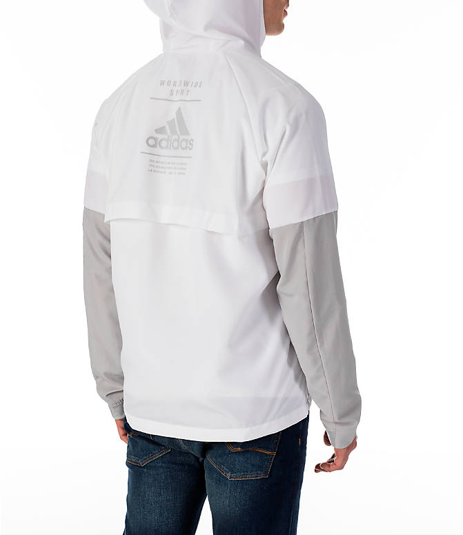 Back Right view of Men's adidas Sport ID Wind Jacket in White/Grey