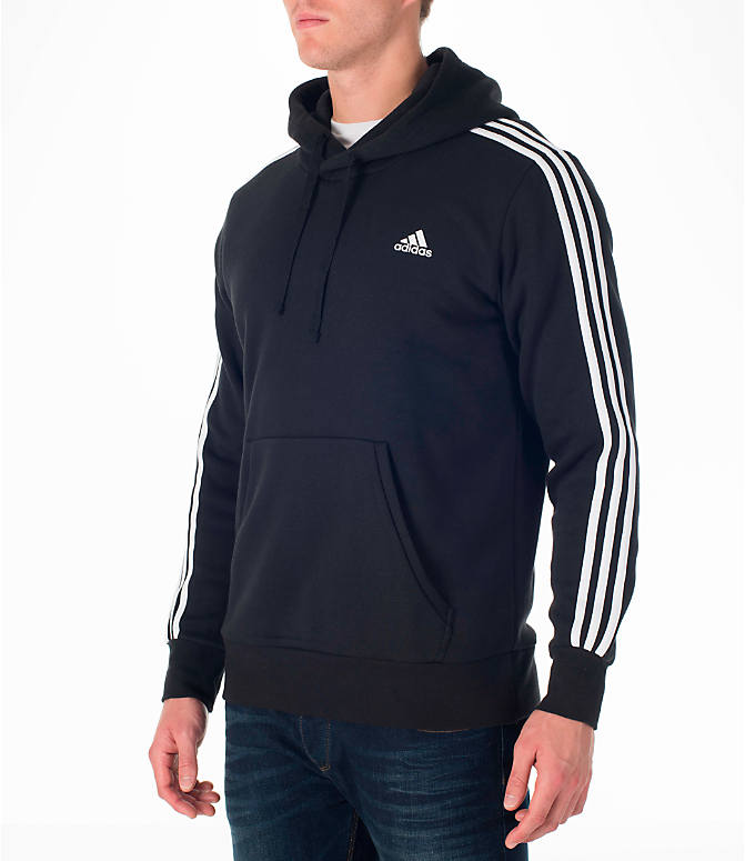 Front Three Quarter view of Men's adidas Badge of Sport Hoodie in Black/White