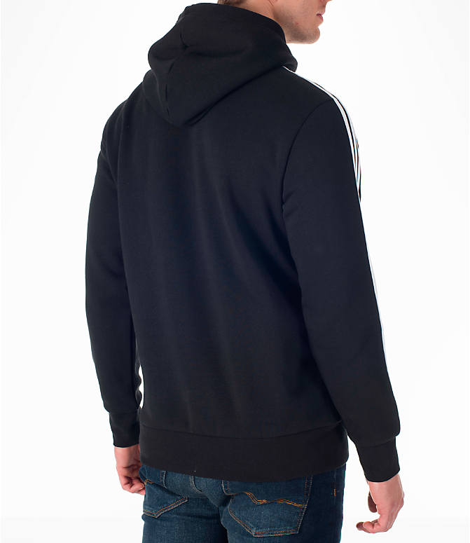 Back Right view of Men's adidas Badge of Sport Hoodie in Black/White