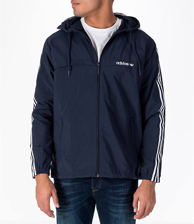 Front view of Men's adidas Originals 3-Stripes Windbreaker Jacket in Legend Ink
