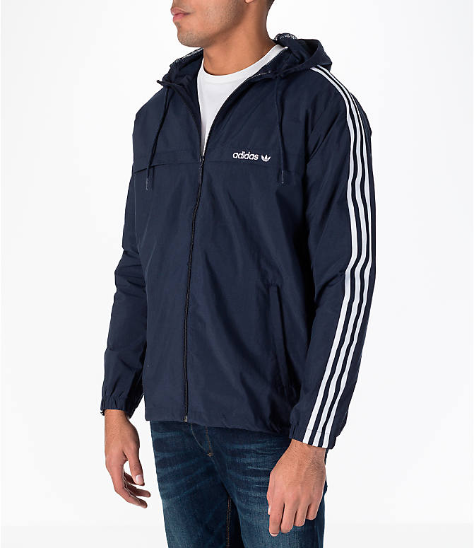 Front Three Quarter view of Men's adidas Originals 3-Stripes Windbreaker Jacket in Legend Ink