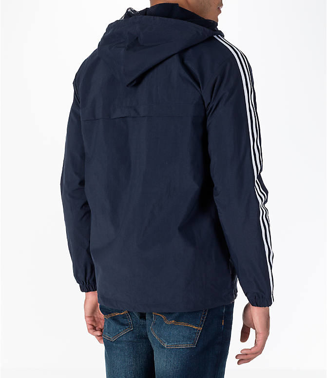 Back Right view of Men's adidas Originals 3-Stripes Windbreaker Jacket in Legend Ink