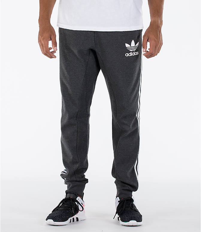 Front view of Men's adidas Curated Cuffed Jogger Pants in Heather Grey/White