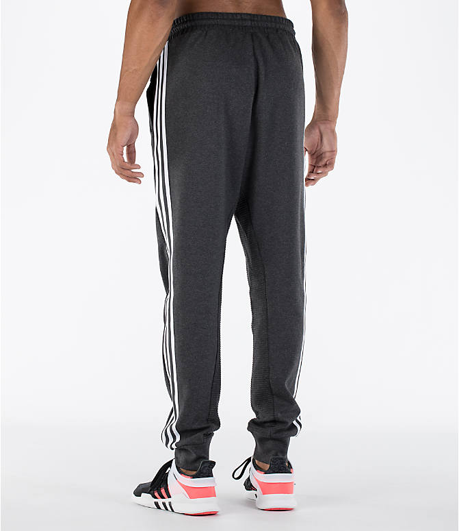 Back Left view of Men's adidas Curated Cuffed Jogger Pants in Heather Grey/White