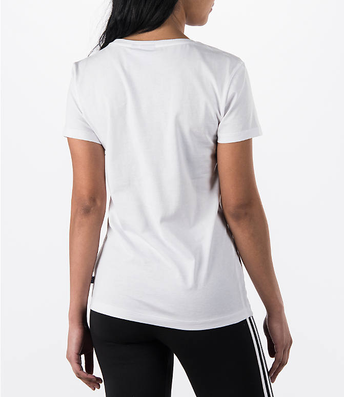 Back Right view of Women's adidas Originals Trefoil T-Shirt in White
