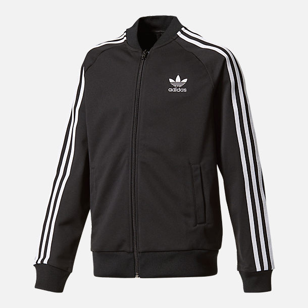 Front view of Boys' adidas Originals Superstar Track Jacket in Black/White