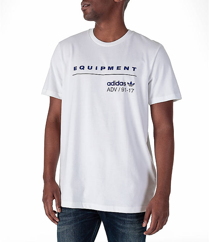 Front view of Men's adidas Originals EQT PDX Classic T-Shirt in White