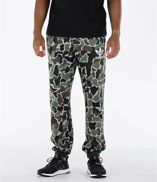 Front view of Men's adidas Camo Cuffed Jogger Pants in Camo/White