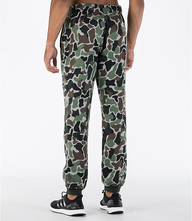 Back Left view of Men's adidas Camo Cuffed Jogger Pants in Camo/White