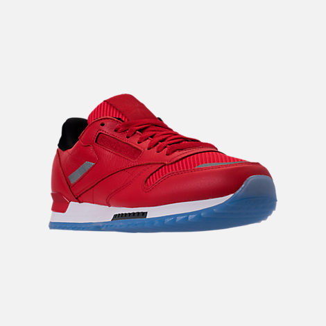 Three Quarter view of Men's Reebok Classic Leather Ripple Low BP Casual Shoes in Primal Red/Asteroid Dust/Ice