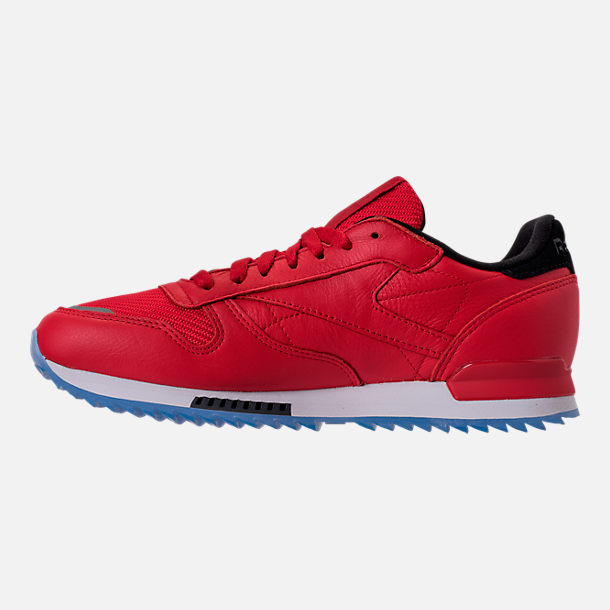 Left view of Men's Reebok Classic Leather Ripple Low BP Casual Shoes in Primal Red/Asteroid Dust/Ice