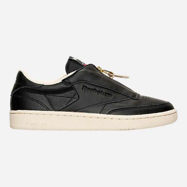 Right view of Women's Reebok Club C Zip Casual Shoes in Black/Sleek Metallic/Paper White