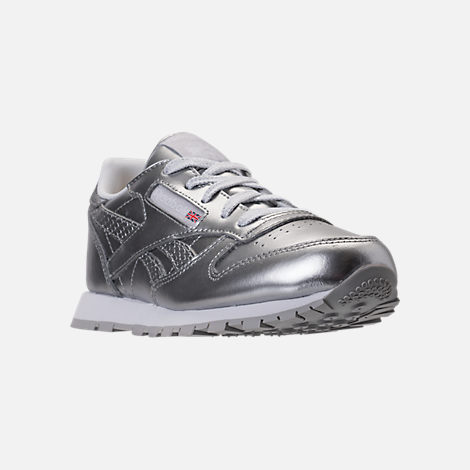 Three Quarter view of Girls' Preschool Reebok Classic Leather Casual Shoes in Silver/White