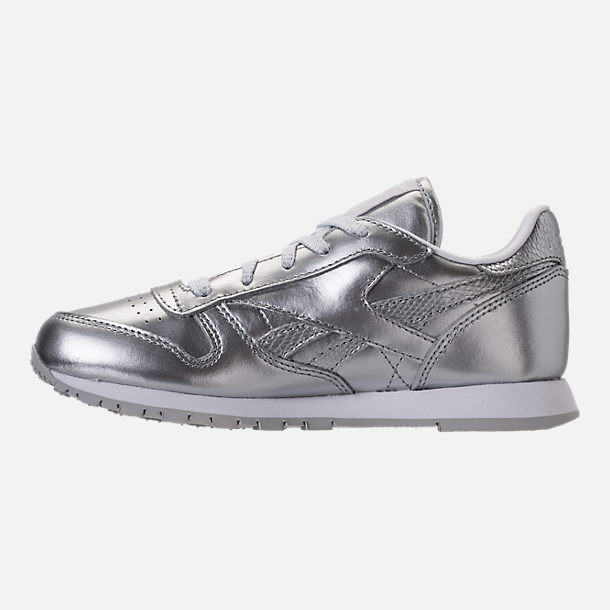 Left view of Girls' Preschool Reebok Classic Leather Casual Shoes in Silver/White