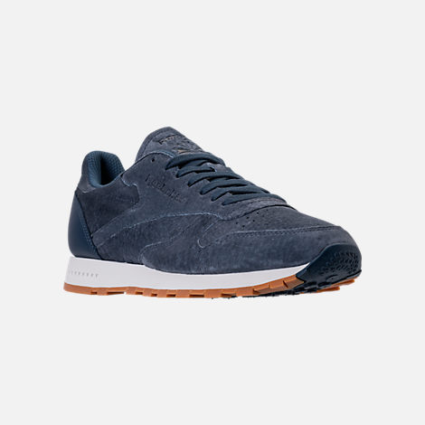 Three Quarter view of Men's Reebok Classic Leather SG Casual Shoes in Smoky Indigo/Chalk/Gum