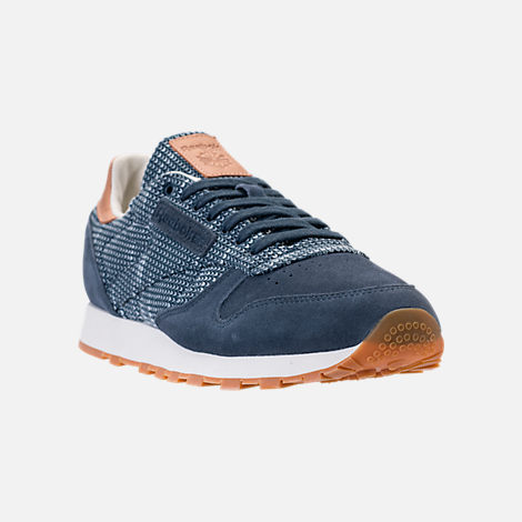 Three Quarter view of Men's Reebok Classic Leather EBK Casual Shoes in Smoky Indigo/Cloud Grey/Chalk/Gum