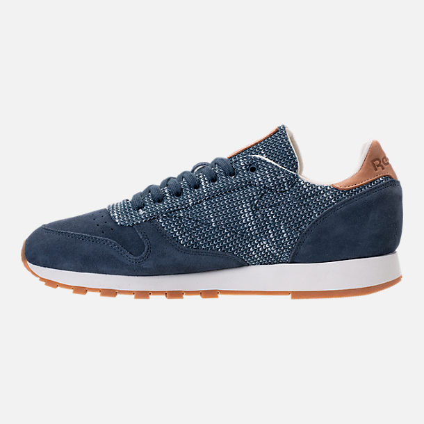 Left view of Men's Reebok Classic Leather EBK Casual Shoes in Smoky Indigo/Cloud Grey/Chalk/Gum