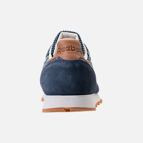 Back view of Men's Reebok Classic Leather EBK Casual Shoes in Smoky Indigo/Cloud Grey/Chalk/Gum