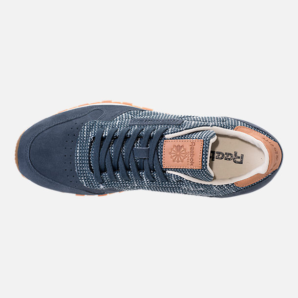 Top view of Men's Reebok Classic Leather EBK Casual Shoes in Smoky Indigo/Cloud Grey/Chalk/Gum