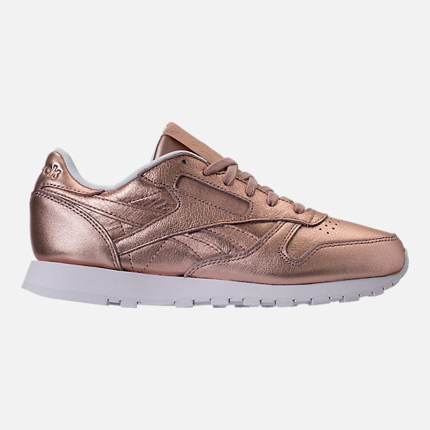 Right view of Women's Reebok Classic Leather Metallic Casual Shoes in Pearl Metallic/Peach/White