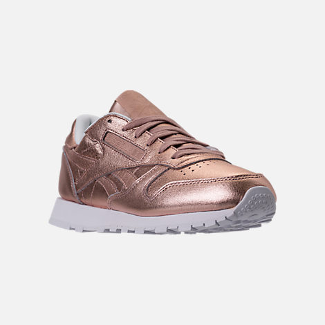 Three Quarter view of Women's Reebok Classic Leather Metallic Casual Shoes in Pearl Metallic/Peach/White